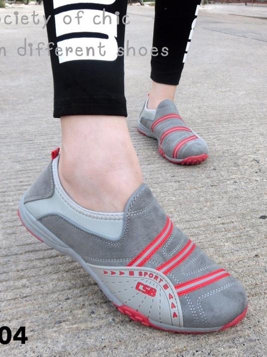 รองเท้าผ้าใบผู้หญิง สไตล์สปอร์ตเกิร์ล (สีเทา )