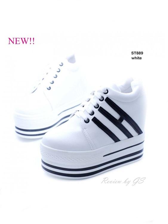 รองเท้าผ้าใบส้นตึกวัสดุหนังพียู ลุ๊คทันสมัย สไตล์เกาหลี (สีขาว )