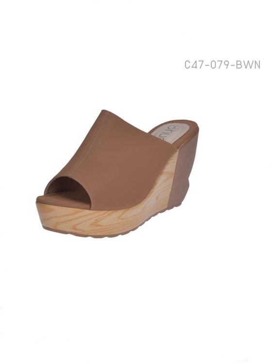 รองเท้าส้นเตารีดแบบเปิดส้น ใส่ลำลอง (สีน้ำตาล )