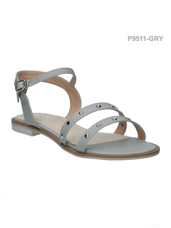 รองเท้าแฟชั่นส้นแบน แบบรัดส้น (สีเทา )