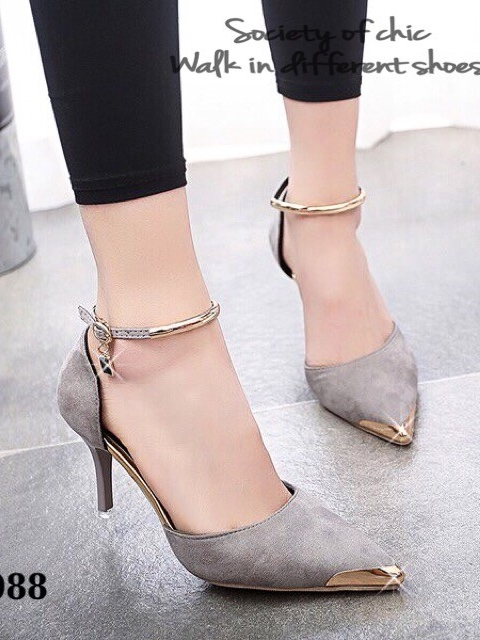 รองเท้าส้นสูง รัดข้อเท้า หัวแหลมสีทอง (สีเทา )