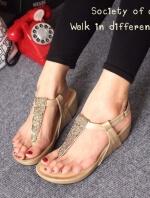 รองเท้าลำลองรัดส้น แบบคีบ (สีทอง )