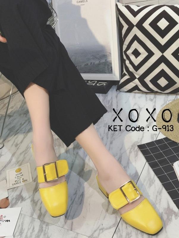 รองเท้าส้นเตี้ยสีเหลือง แต่งหัวเข็มขัด แฟชั่นฮิตมากในเกาหลี (สีเหลือง )