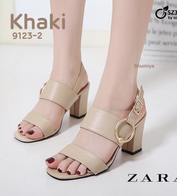 รองเท้าส้นตันรัดส้นสีกากี สไตล์ ZARA (สีกากี )