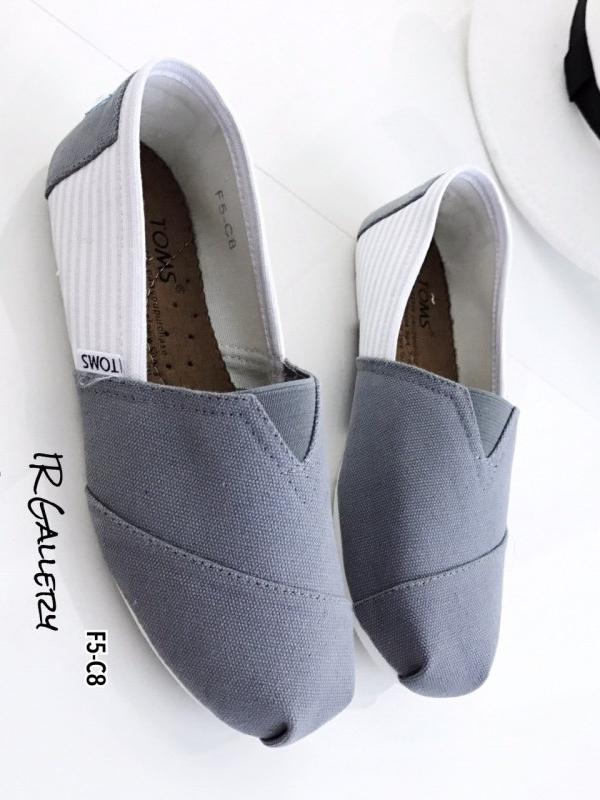 รองเท้าผ้าใบ ผ้าแคนวาสนิ่ม งานคุณภาพ Style Brand Toms (สีเทา )