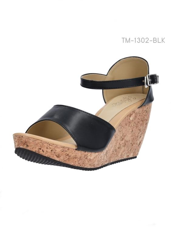 รองเท้าส้นเตารีด รัดส้น พื้นลายไม้ (สีดำ )