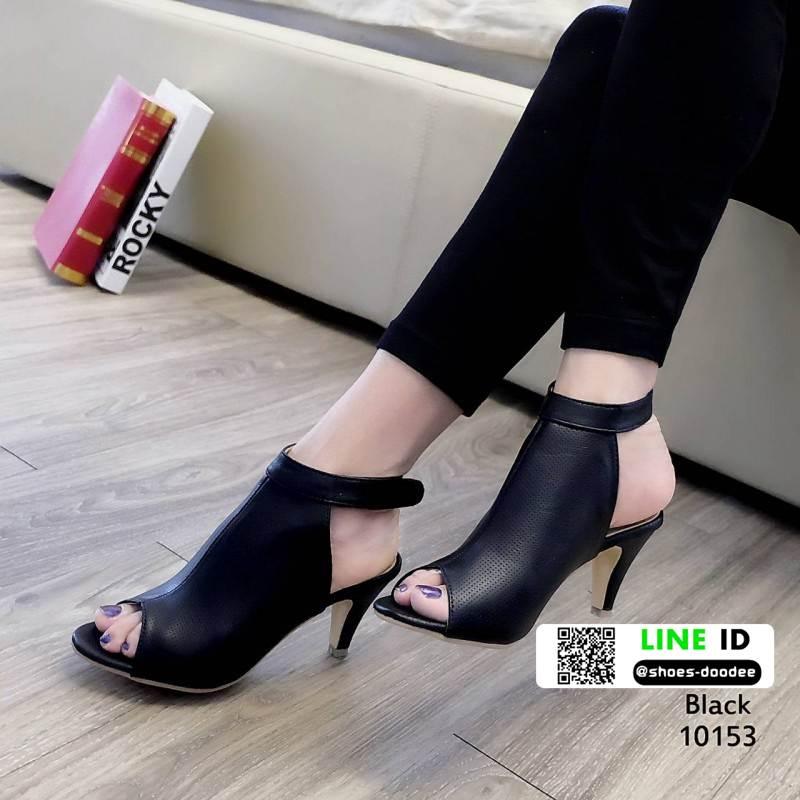 รองเท้าส้นสูงลุกส์ปราด้าที่รัดข้อ 10153-ดำ [สีดำ]
