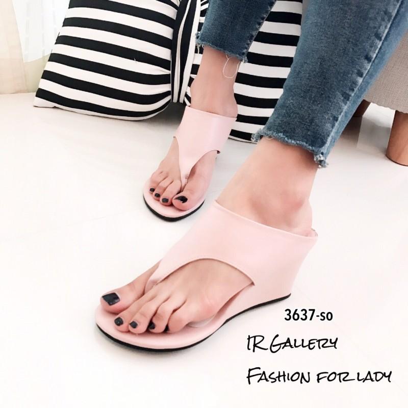รองเท้าส้นเตารีดสีชมพู แบบคีบ สไตล์ลำลอง (สีชมพู )