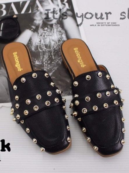 รองเท้าสนเตี้ยเปิดส้นสีดำ ตอกหมุด สไตล์แบรนด์ GUCCI (สีดำ )