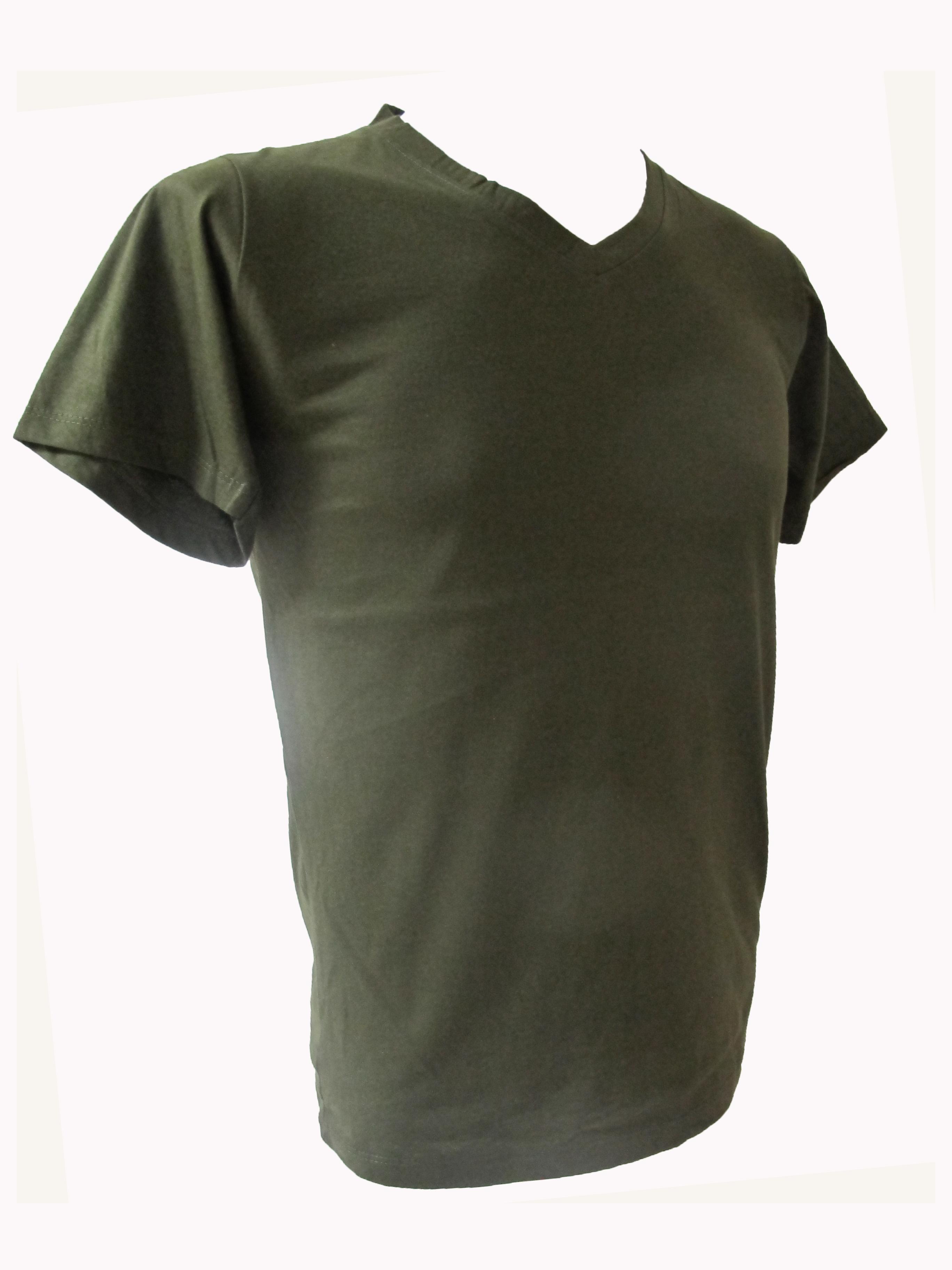 COTTON100% เบอร์32 เสื้อยืดแขนสั้น คอวี สีเขียวขี้ม้า