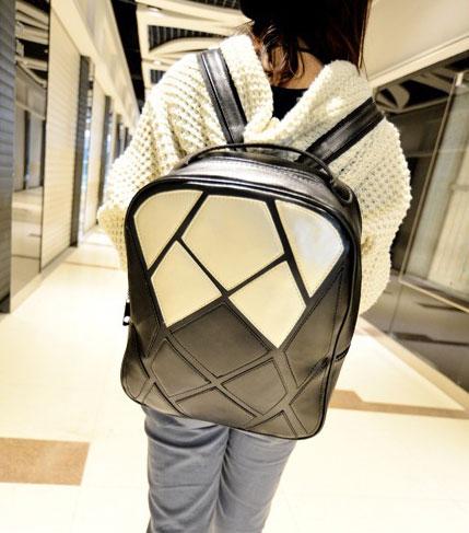 พร้อมส่ง กระเป๋าเป้สะพายหลัง แฟชั่นเกาหลี Fashion bag รหัส NA-228-2 สีดำ-ขาว