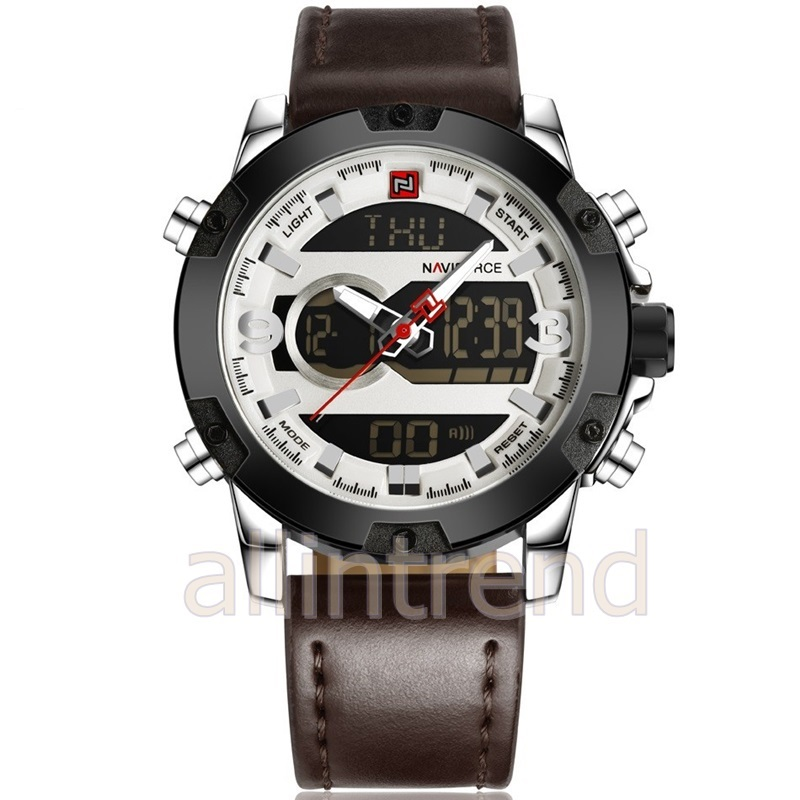 นาฬิกา Naviforce รุ่น NF9097M สีเงิน สายสีน้ำตาล ของแท้ รับประกันศูนย์ 1 ปี ส่งพร้อมกล่อง และใบรับประกันศูนย์ ราคาถูกที่สุด