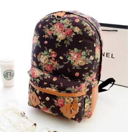 พร้อมส่ง กระเป๋าเป้ผ้า สะพายหลัง ลายดอกไม้ เป้เดินทาง เป้นักเรียนผู้หญิงแฟชั่นเกาหลี Fashion bag รหัส G-175 สีน้ำตาล