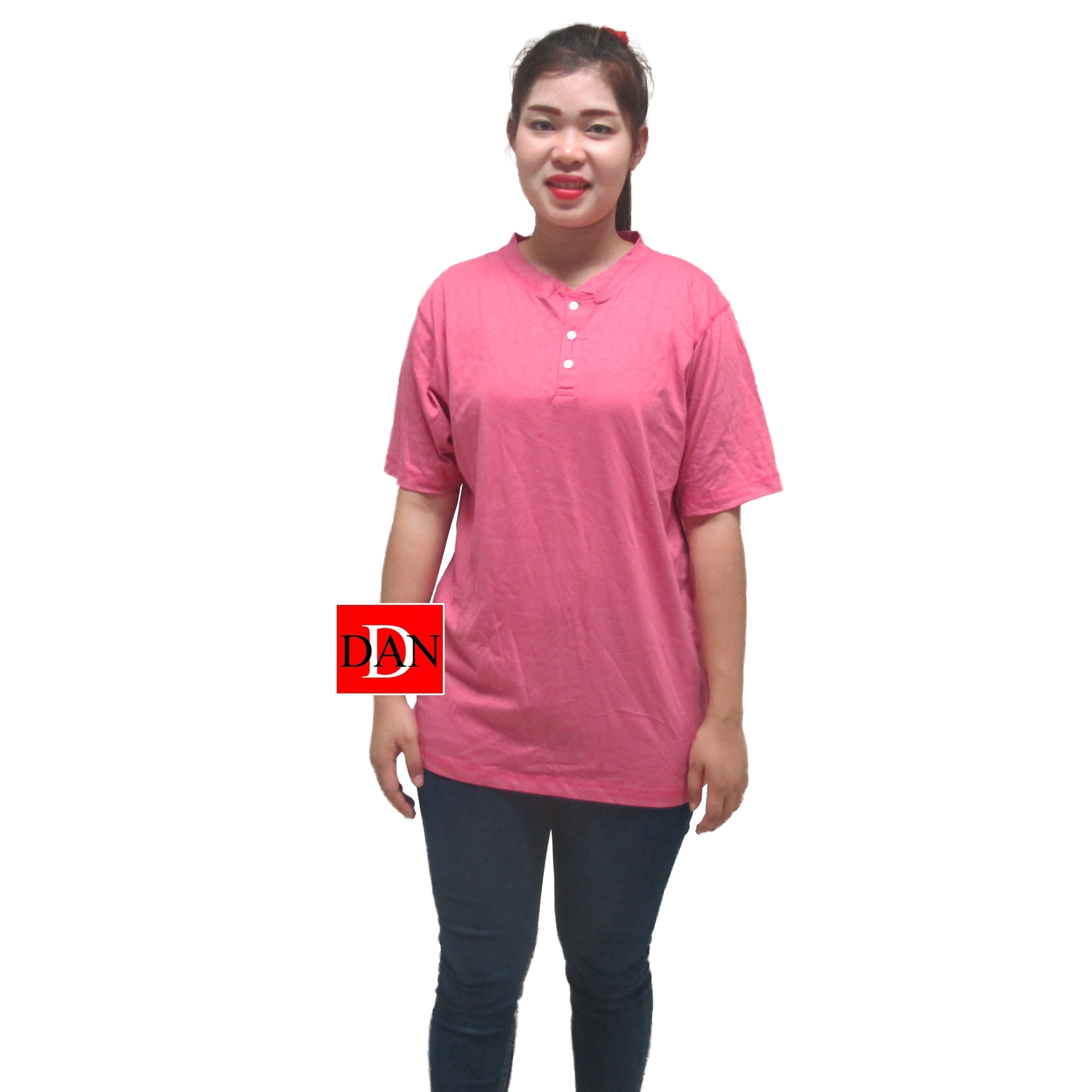เสื้อยืดคอจีน Cotton100% L สีชมพู