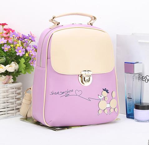 พร้อมส่ง กระเป๋าเป้สะพายหลัง ผู้หญิง แฟชั่นเกาหลี Sunny-618 แท้ สีม่วง