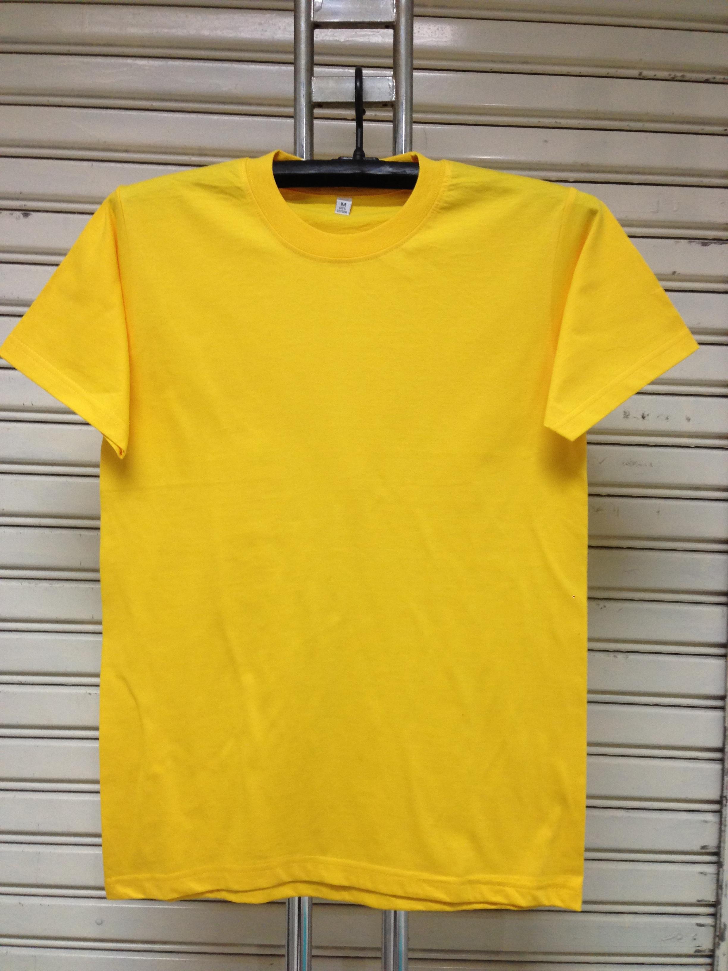 COTTON100% เบอร์32 เสื้อยืดแขนสั้น คอกลม สีเหลือง