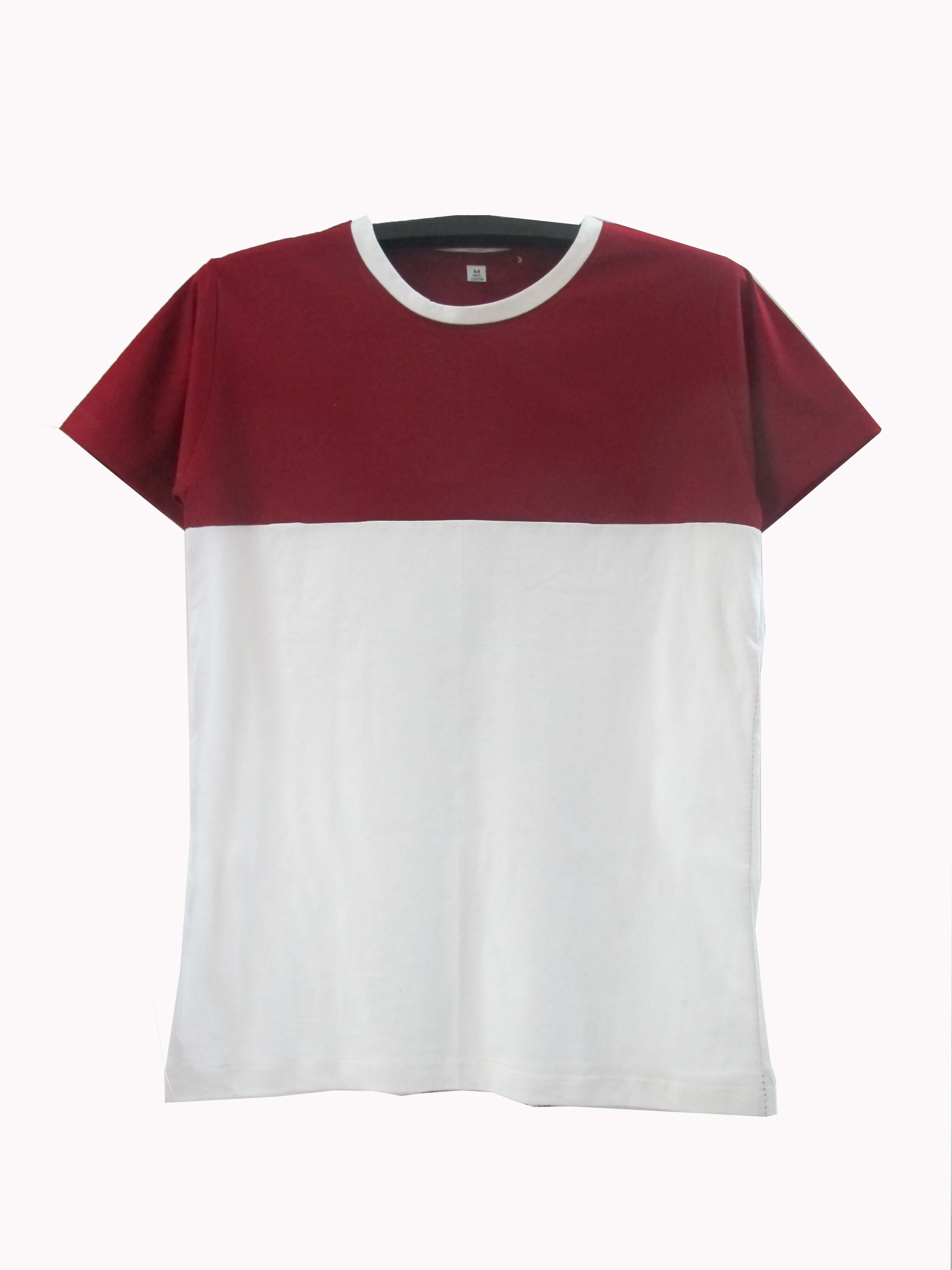 เสื้อตัดต่อข้างบนสีข้างล่างขาว สีเลือดหมู