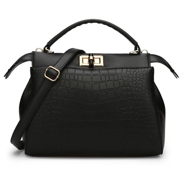 พร้อมส่ง กระเป๋าผู้หญิงถือและสะพายข้าง แต่งลูกบิดล็อคแฟชั่นเกาหลี Sunny-680 สีดำ 2 ใบ