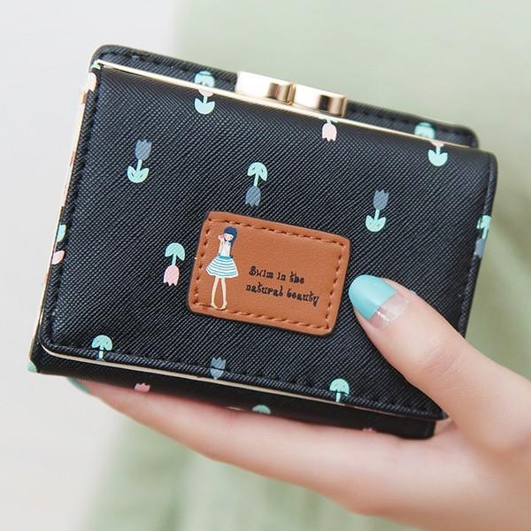 พร้อมส่ง กระเป๋าสตางค์ใบสั้นผู้หญิง กระเป๋าสตางค์นักเรียน แฟชั่นเกาหลี รหัส DA-883 สีดำ