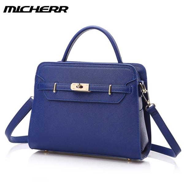 พร้อมส่ง กระเป๋าถือและสะพายแฟชั่นยุโรปอเมริกา ยี่ห้อ MICHERR แท้ รหัส AL-037M01 สีน้ำเงิน