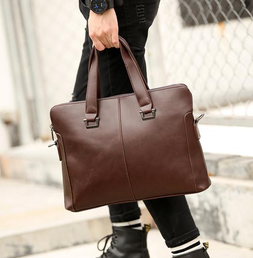 พร้อมส่ง กระเป๋าผู้ชายนักธุรกิจ ใส่เอกสาร ใส่คอมพิวเตอร์ 14 นิ้ว กระเป๋านักธุรกิจแฟขั่นเกาหลี รหัส Man-8152 สีกาแฟ