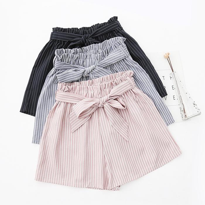 กางเกงขาสั้นเอวยืดแต่งโบว์ (มีให้เลือก 3 สี)