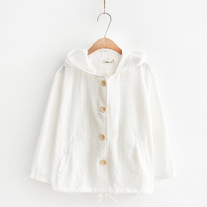 เสื้อคลุม/แจ็คเก็ตฮู้ดลูกไม้สีขาว (มีให้เลือก 2 ไซส์)