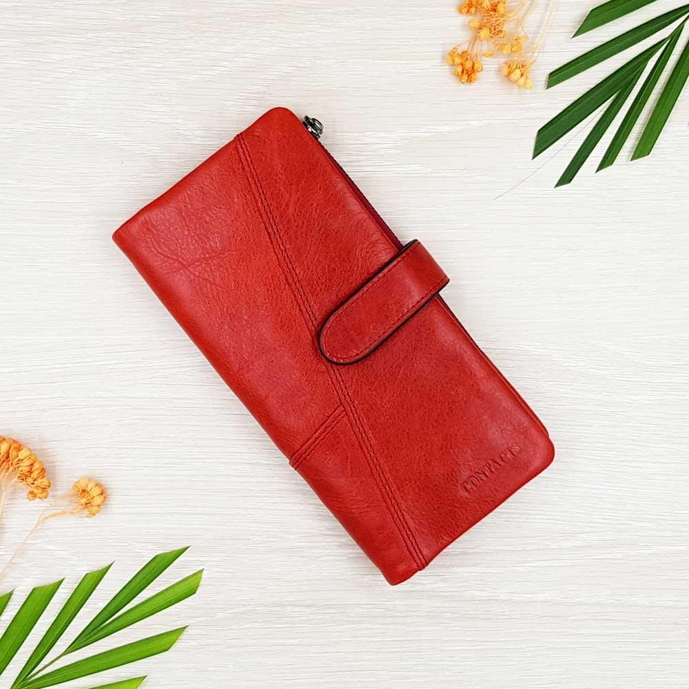 กระเป๋าสตางค์หนังแท้ ทรงยาว แยกส่วนได้ สีแดง