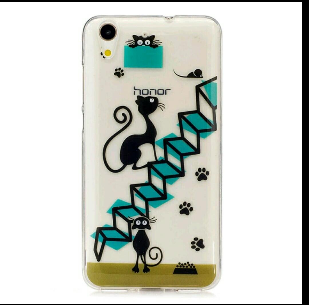 เคส huawei y6ii เคสtpuนิ่มลายแมวดำสามคัว