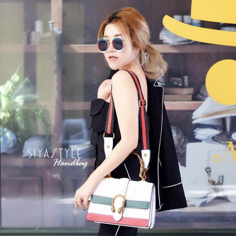 กระเป๋าสะพายแฟชั่น กระเป๋าสะพายข้างผู้หญิง Style กุชชี่ [สีขาว]