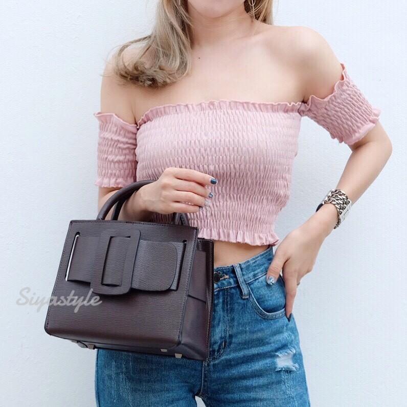 กระเป๋าถือ กระเป๋าสะพายข้างผู้หญิง งานพียู Boyy bag [สีน้ำตาล ]