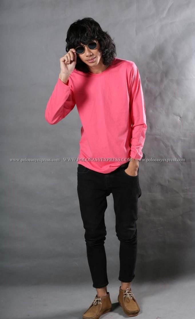 เสื้อยืด สีชมพู Sweety คอกลม แขนยาว Size L สำเนา