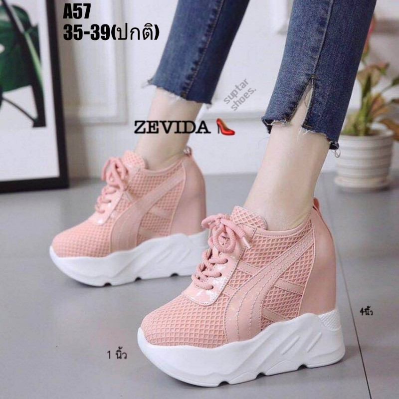 รองเท้าผ้าใบเสริมส้นสีชมพู รองเท้าผ้าใบเสริมส้นสูง2นิ้ว