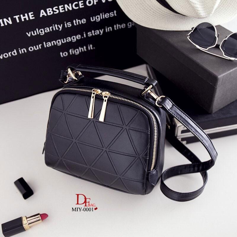 กระเป๋าสะพายแฟชั่น กระเป๋าสะพายข้างผู้หญิง ดีไซน์น่ารักสไตล์เกาหลี [สีดำ ]