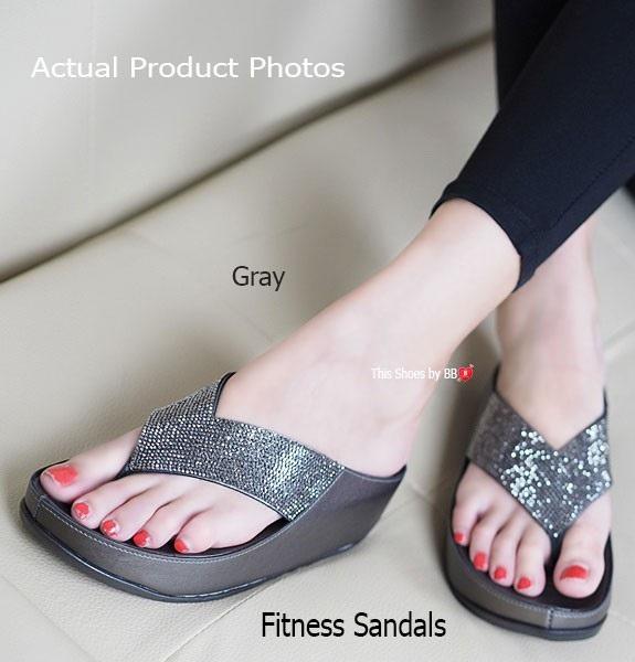 พร้อมส่ง รองเท้าแตะเพื่อสุขภาพสีเทา Crystal Fitness Soft แฟชั่นเกาหลี [สีเทา ]