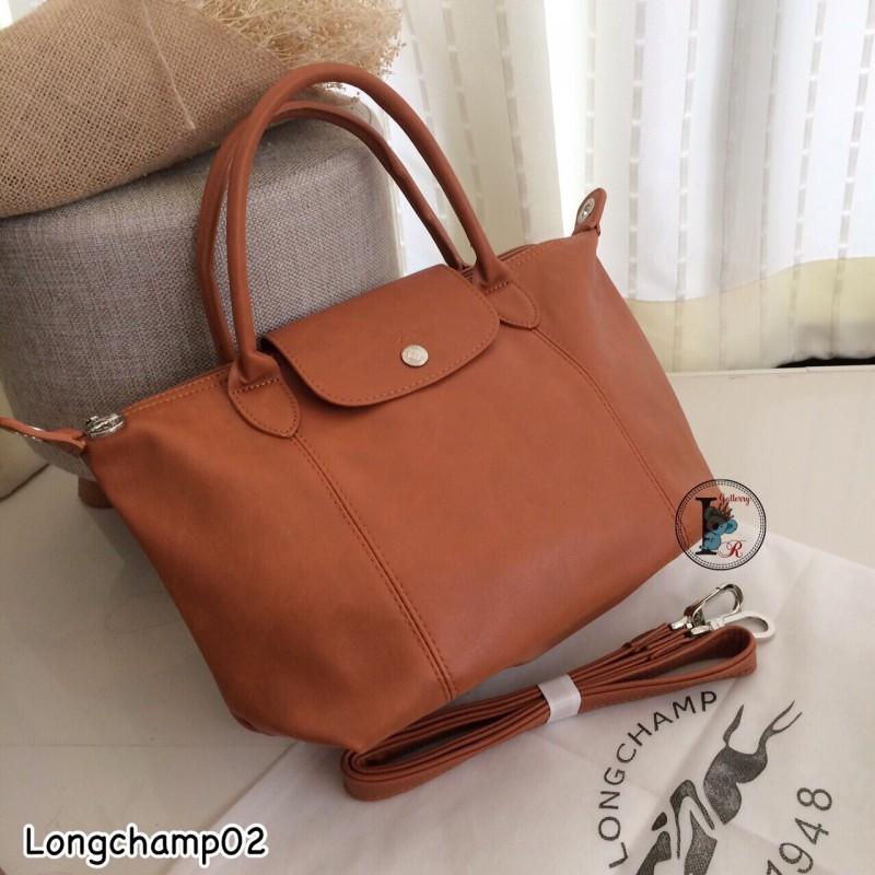 กระเป๋าสะพายแฟชั่น กระเป๋าสะพายข้างผู้หญิง แบบชนช้อป Longchamp Le Pliage Cuir size M [สีแทน ]