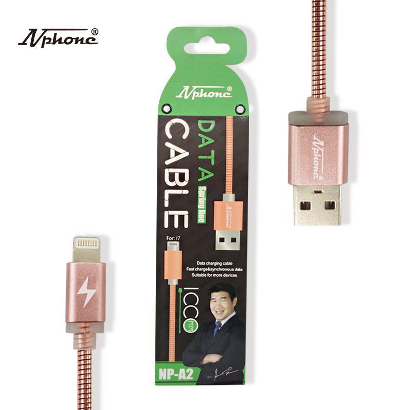 สาย USB (NP-A2) สปริง สี ดำ,เงิน,ขาว ชมพู // มี I Phone / Samsung Micro / Type-C
