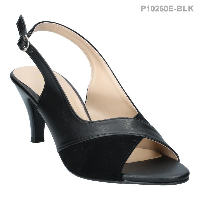 รองเท้าส้นสูง รัดส้น โชว์นิ้วเท้า ใส่ได้หลายโอกาส (สีดำ )
