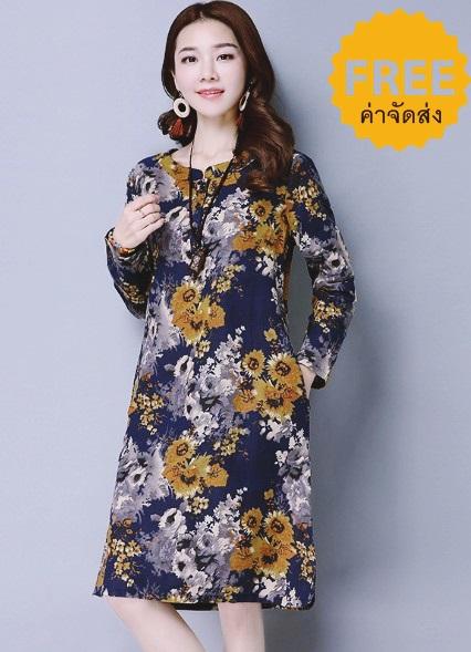 ชุดเดรสลายดอกแฟชั่นเกาหลี