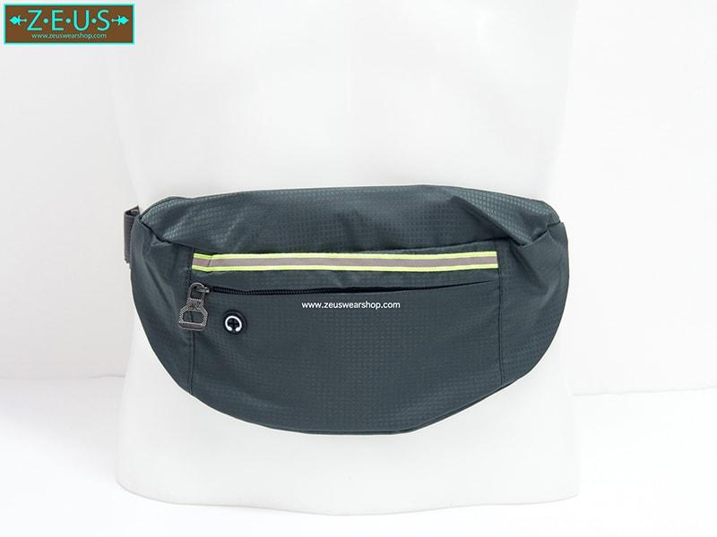 กระเป๋าคาดเอววิ่ง กันน้ำ สีเทา Size L มี 3 ซิป เสียบหูฟังได้