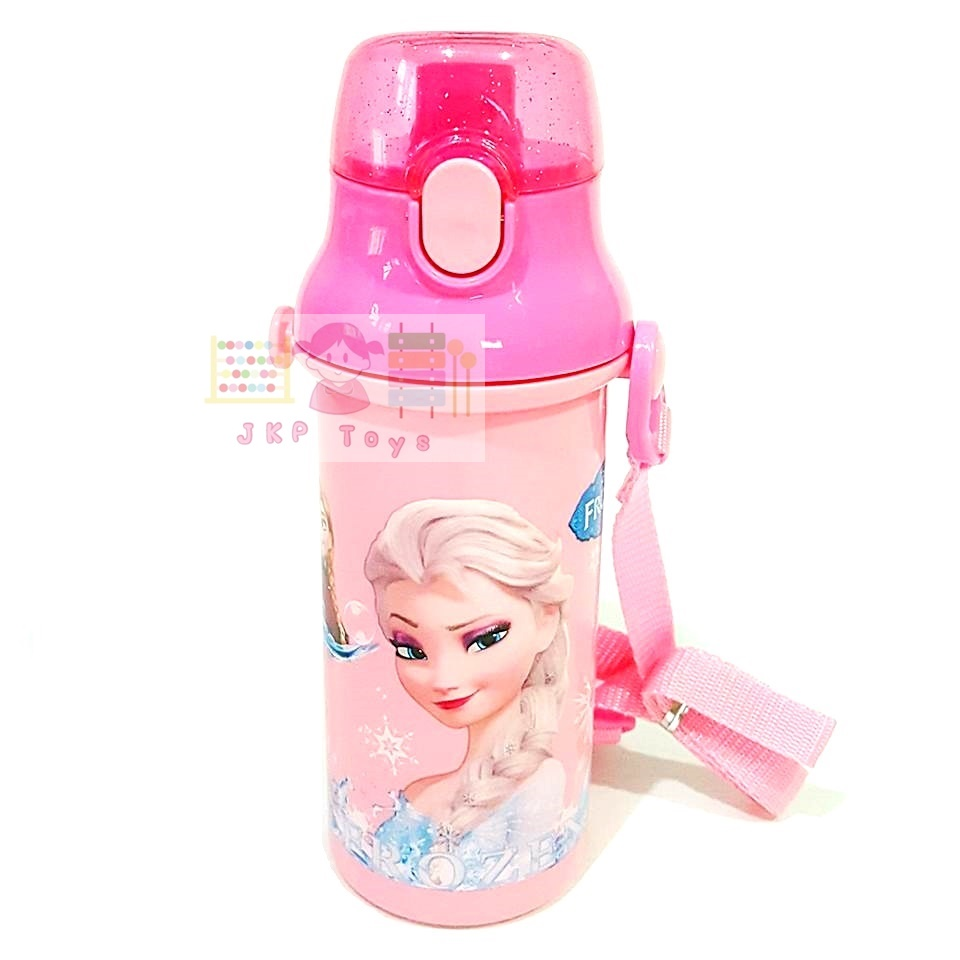 กระติกน้ำเด็ก มีสายสะพายแบบยกดื่ม + ใส่หลอดดูดได้ ลาย Frozen ชมพู