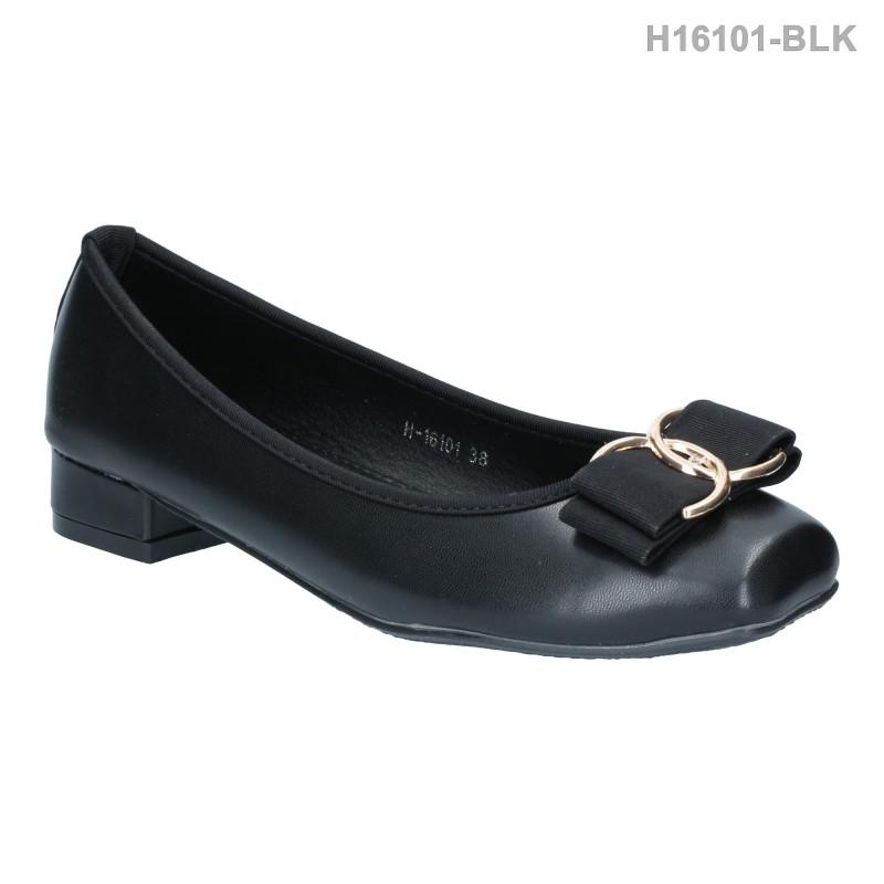 รองเท้าคัทชู ส้นเตี้ย หัวตัด แต่งโบว์ (สีดำ )