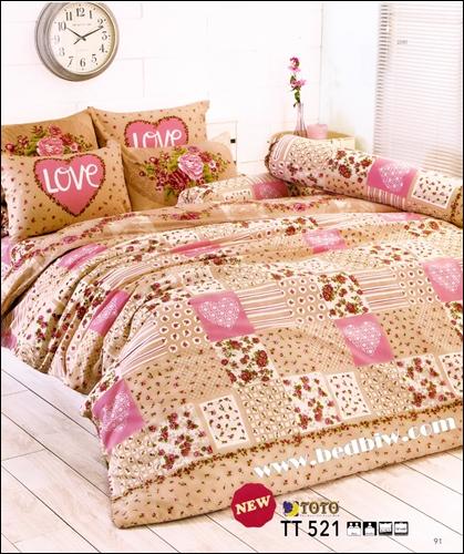 ชุดเครื่องนอน ผ้าปูที่นอน toto ลายดอกไม้ TT521