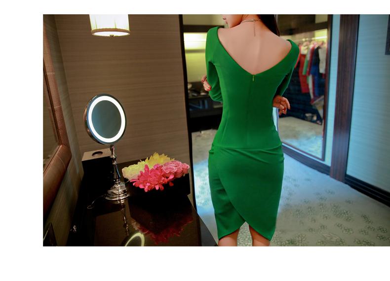 รับตัวแทนจำหน่ายชุดเดรสแฟชั่นเกาหลีสีเขียวทรงตรงเข้ารูป