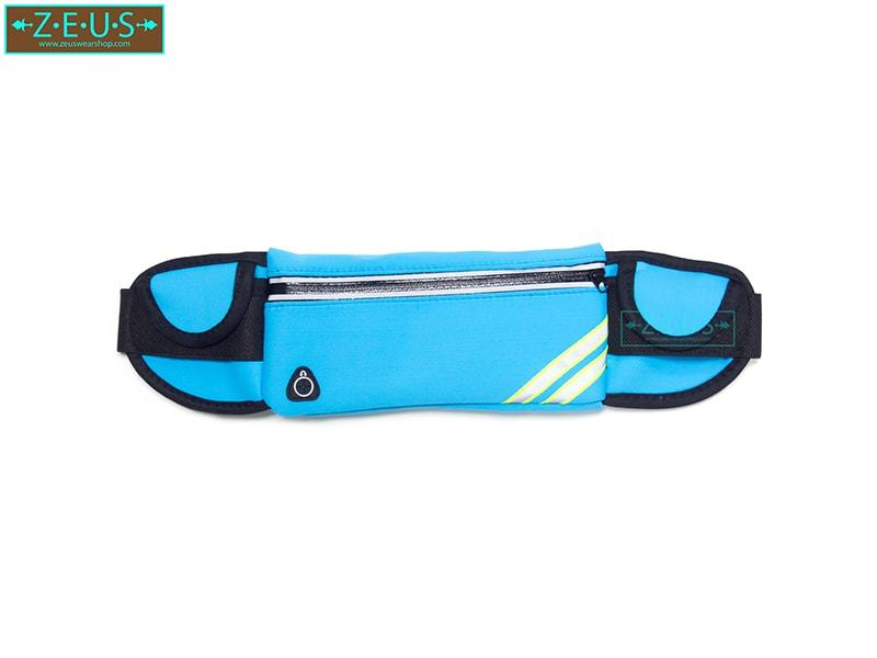 กระเป๋าคาดเอววิ่ง สีฟ้า เสียบขวดน้ำได้ ใส่โทรศัพท์ได้ทุกรุ่น