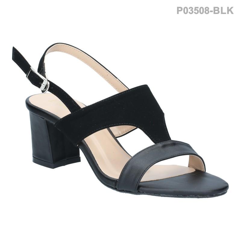 รองเท้าส้นสูง รัดส้น ปลายเปิด สายคาดสองตอน (สีดำ )