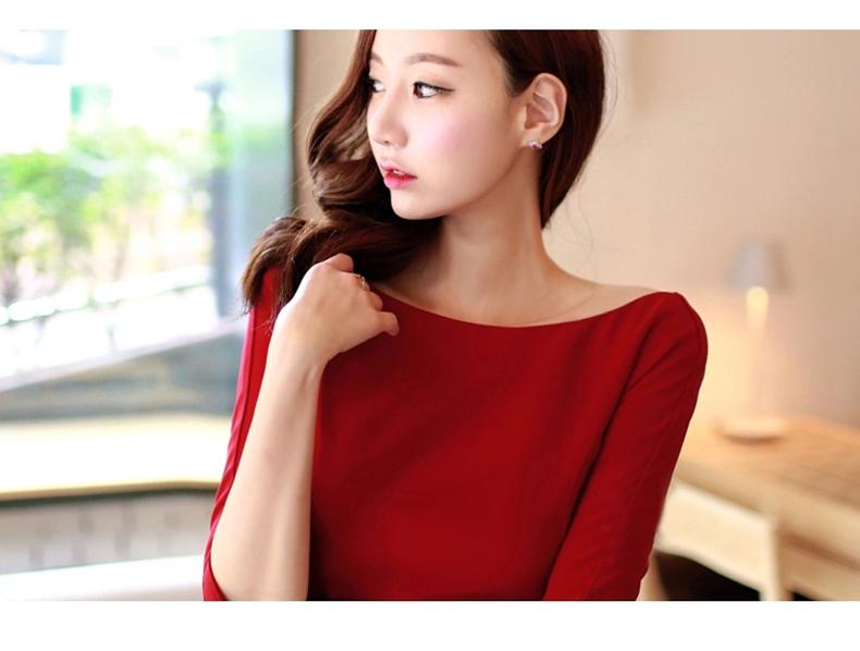 รับตัวแทนจำหน่ายชุดเดรสแฟชั่นเกาหลีสีแดง