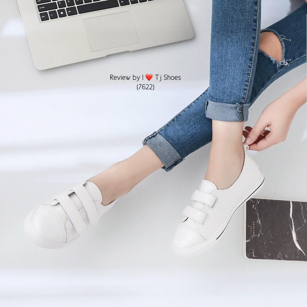 รองเท้าผ้าใบ 2แปะ (สีขาว)