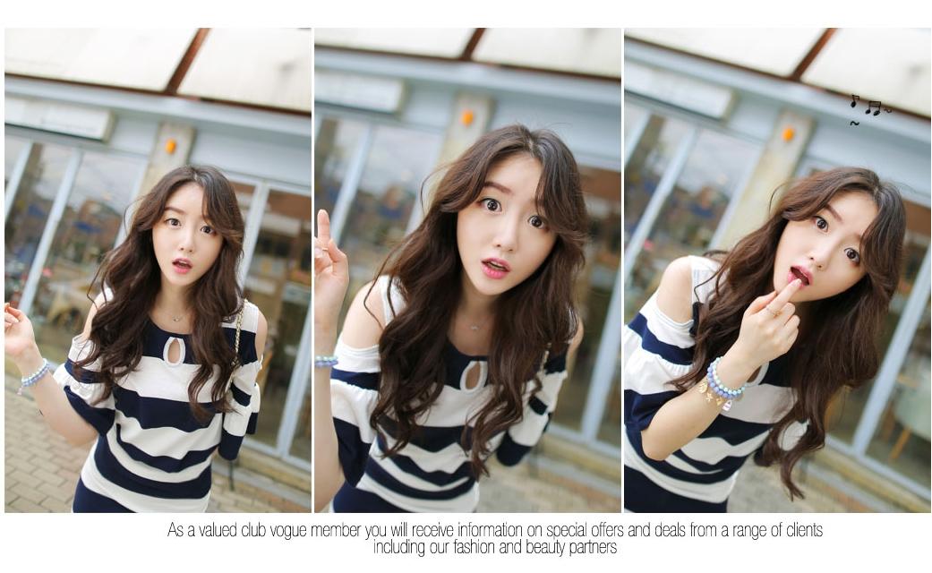 รับตัวแทนจำหน่ายชุดเดรสแฟชั่นเกาหลีลายทางสีน้ำเงินขาวสวยๆ