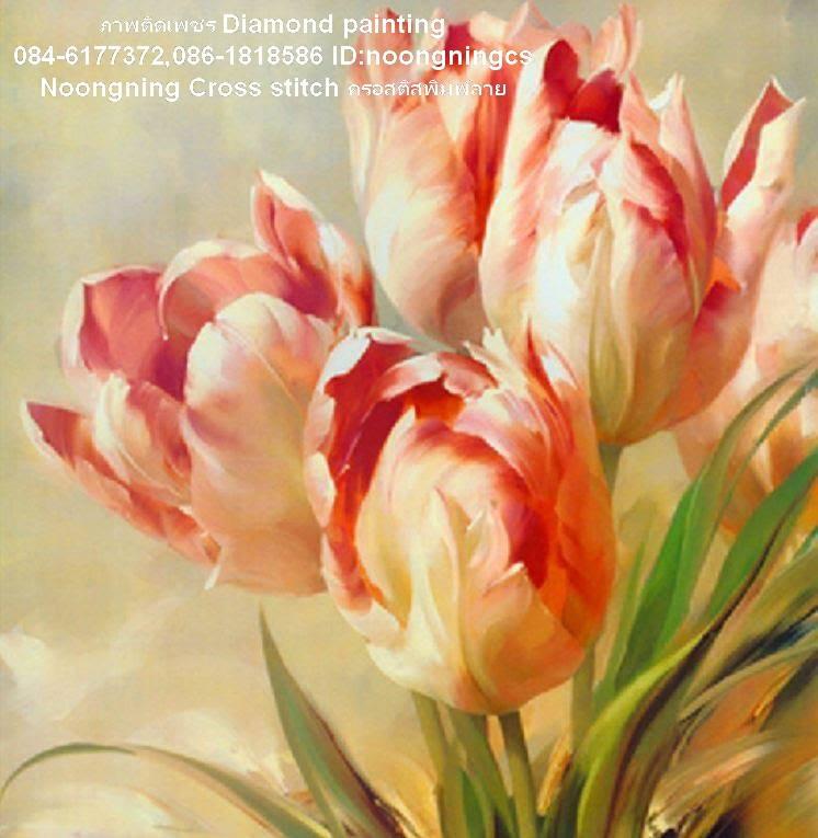 แจกันดอกกุหลาบ ภาพติดเพชร